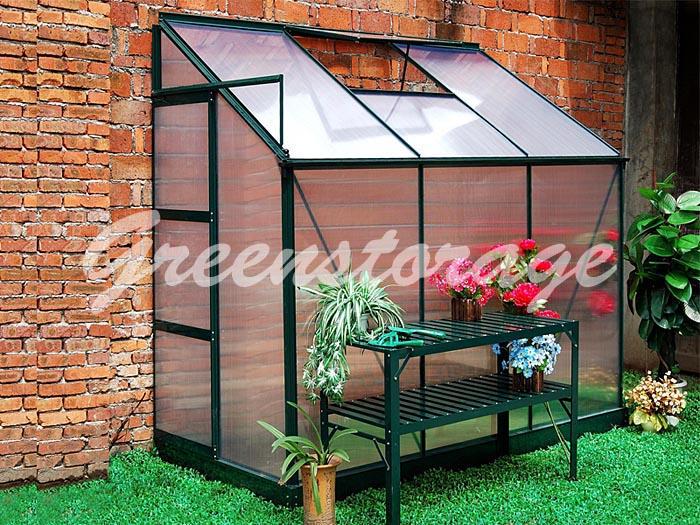 Пристенная алюминиевая теплица, оранжерея Greenstorage G1002F